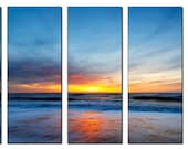 Sunset Sea Beach Nature HUGE Photo Painting Canvas Art Print FRAMED Ready to Hang - 5 PANELS