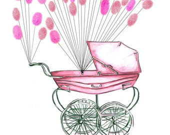 Large Fingerprint Guest book, baby carriage pram with balloons 2 colors, Custom Order