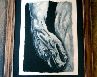 Michelangelo Hand of David, Mixed Media charcoal and acrylic painting.