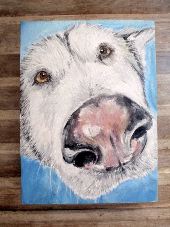 Husky dog painting, close-up original Acrylic dog portrait on a gallery wrapped canvas.