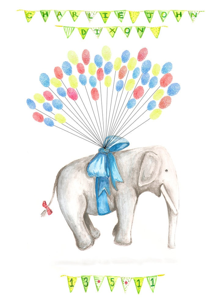 Small Fingerprint Guest Book Floating Elephant With Balloons