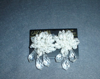 Cara Mia Beaded Clip On Earrings White and Clear