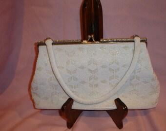 White Beaded Bag With Aurora Borealis Clasp Hong Kong Free Shipping