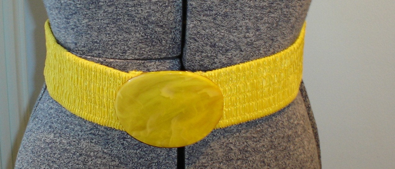 80s bright yellow wide elastic belt ruched by