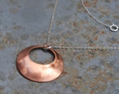 Simple copper pendant - Recycled brushed copper necklace