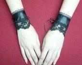 Gothic Cuffs with Embroidered Lace, Vampire Wedding Wristlets, Noir, Textile Bracelets, Renaissance Steampunk Victorian Styles, Corset