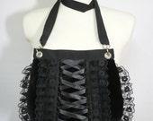 Gothic Corset Bag with Lace  Ruffle, Gothic Lolita, Harajuku Purse, Black, Small Velvet Bag, Shoulder Bag, Dark, Vampire Girl Clutch