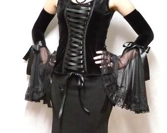 Gothic Diva Armwarmers, Black Velvet Gloves, Dark Wedding, Vampire Sleeves with Lace, Noir, Dark Lady