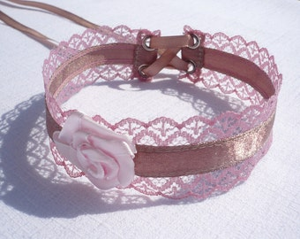 Romantic, Soft Choker in Cappuccino and Dirty Pink, Soft Lace and Satin, Baroque and Renaissance, Costume,Wedding Jewelry