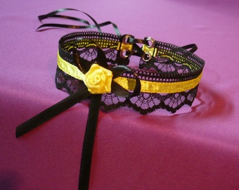 Elegant Choker in Black and Sunny Yellow, Romantic Textile Necklace,Lace,Satin, Baroque, Wedding Neck Piece, Special Occasion