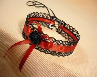 Black and Red Flamenco Choker with Bow, Gothic Necklace with Corset Closure, Lace, Vampire and Gypsy Style, Rococo