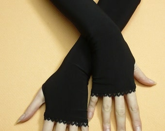 Black Stretchy Armwarmers with Thumb Holes, Fingerless Gloves with Lace Trim, Gothic and Tribal Styles, Women Sleeves, Dance