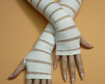 Ivory Bridal Gloves, Fingerless, Romantic Wedding Armwarmers, Shiro Lolita, Long Stretchy Sleeves, Regency, Bride