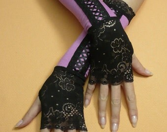 SALE Baroque and Gothic Armwarmers with Stretchy Lace, Fake Corset Fingerless Gloves in Black and Pink, Pale Purple, Gypsy, Burlesque