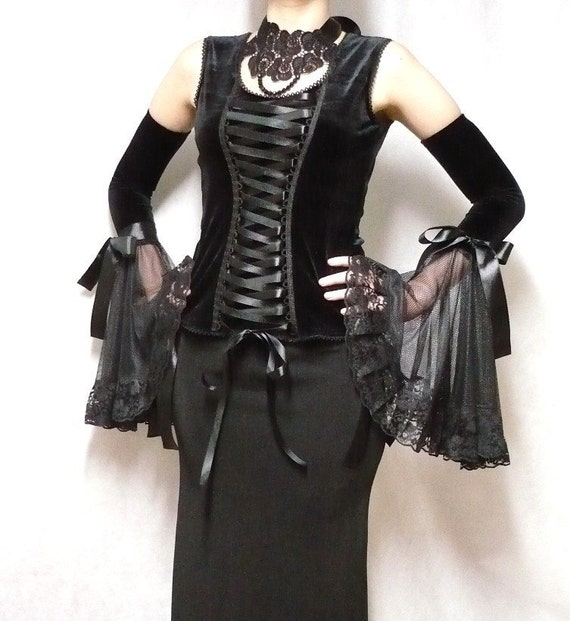 Gothic Diva Armwarmers, Black Velvet Gloves, Dark Wedding, Vampire Sleeves with Lace, Noir, Dark Lady