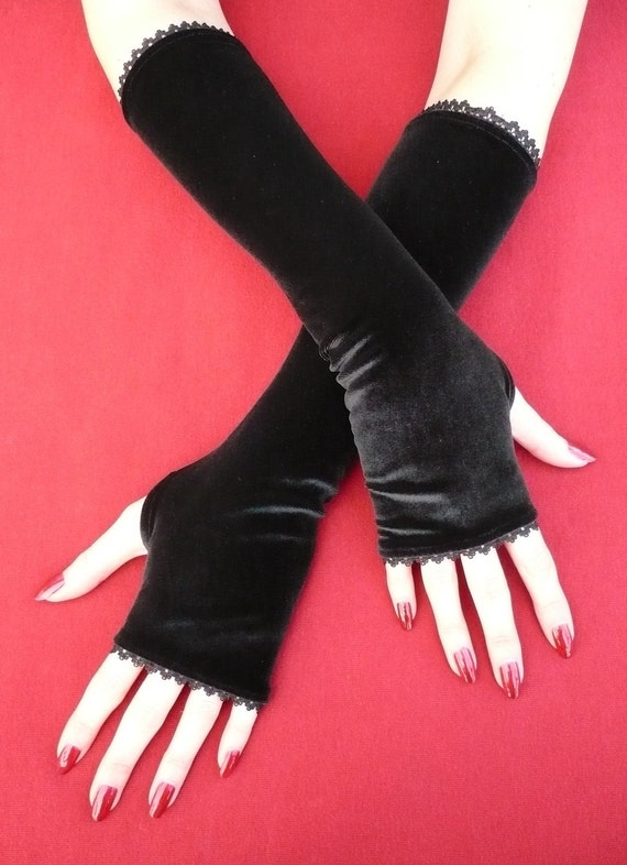 Black Velvet Armwarmers with Thumb Holes, Fingerless Gloves Gothic and Steampunk, Black Lace Trim, Fusion Dance, Vamp Sleeves