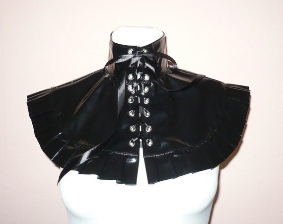 Black PVC Neck Piece, Shiny Latex Collar, Cape, Gothic, Bondage Costume, Pleated, Cyber, Corset Closure,Vampire,Noir