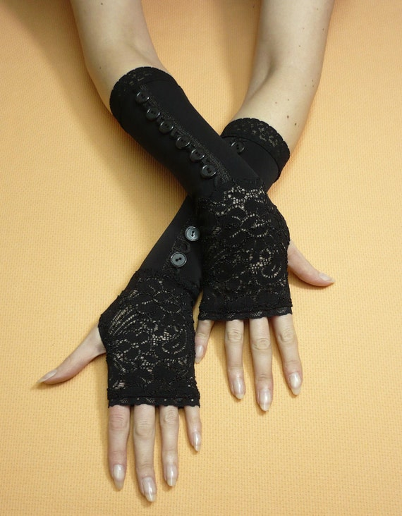 Black Retro Fingerless Gloves with Lace and Buttons, Gothic Armwarmers, Mystery Elegant Ladie's Sleeves, Victorian Style