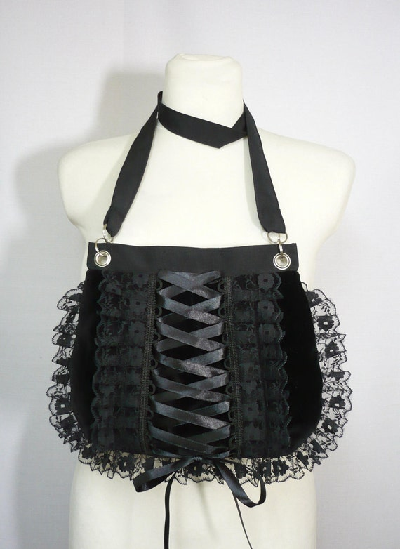 Gothic Corset Bag with Lace  Ruffle, Gothic Lolita, Harajuku Purse, Black, Small Velvet Bag, Shoulder Bag, Dark, Vampire Girl Clutch