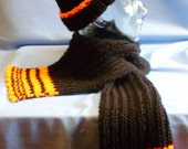 Black and orange hat and scarf set