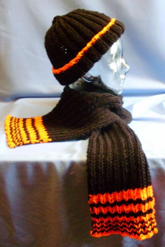 Black and orange hat and scarf set