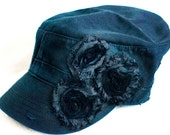 WOMENS Black Distressed Cadet Hat w/ Black Shabby Chic Flowers