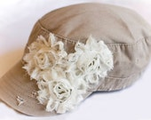 WOMEN'S Tan Distressed Cadet Hat with White Shabby Chic Flowers - jacknmolly