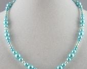 Graduated Aqua Pearl Necklace