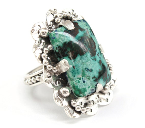 Huge Stone Ring, Chrysocolla Stone, Large Cocktail Ring Size 8 statement ring