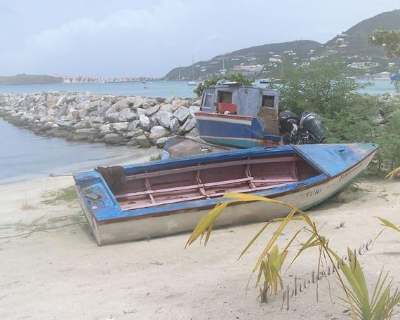 Beached in St. Martin - 8x10 - boats, water, caribbean sea, beach
