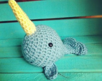 Ready to Ship! Crocheted Baby Narwhal- Pudgies Collection