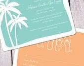 Tropical Beach Wedding Invitation - Deposit Only
