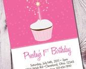 Sparkling Cupcake Birthday Invitation - Set of 15
