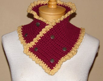 victorian style Crochet Neck Cowl / Scarflette / neckwarmer  dark brick red with golden yellow trim