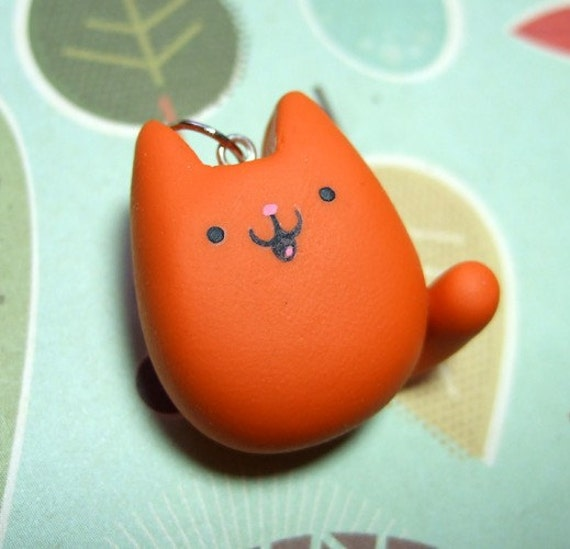 Orange Ginger Kitty Cat Necklace - READY TO SHIP - Handmade by The Happy Acorn