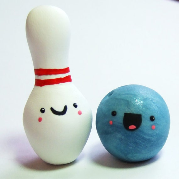 Kawaii Happy Bowling Micro Miniature Figurine Pair - Handmade by The Happy Acorn