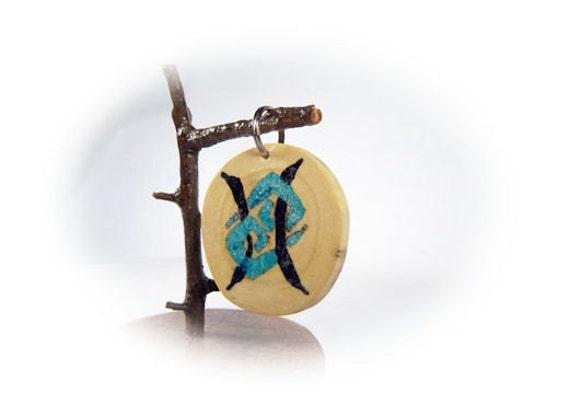 Elm Gemini Cancer Cusp Amulet with Stone Inlay  Custom Made