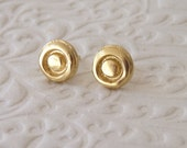 Gold Stud Earings with a Circle - 18k Plated Post Earrings
