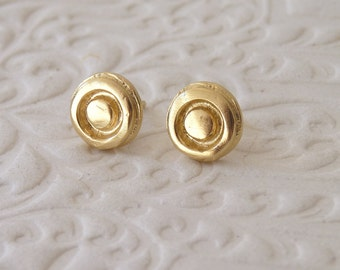 Christmas Sale: Gold Stud Earrings with a Circle - 18k Gold Plated Earrings - Gold Post Earrings | Christmas Gift