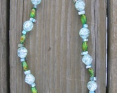 Speckled green and crackled blue glass bead necklace