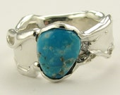 Melted Silver Band, Turquoise and Diamond