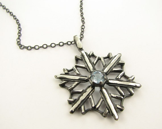 Snowflake Necklace Topaz and Antiqued Silver