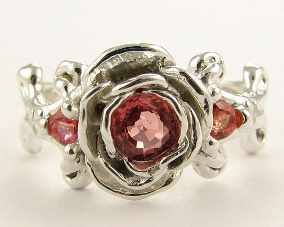 Peachy Keen Peach Sapphire Rose Ring