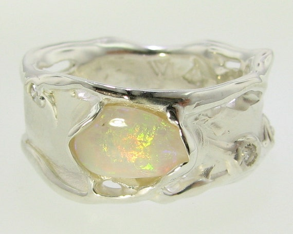 Melted Band, Opal and Silver