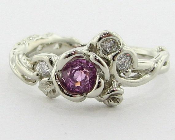 Pink Sapphire Rose Garden Ring, Full Bloom
