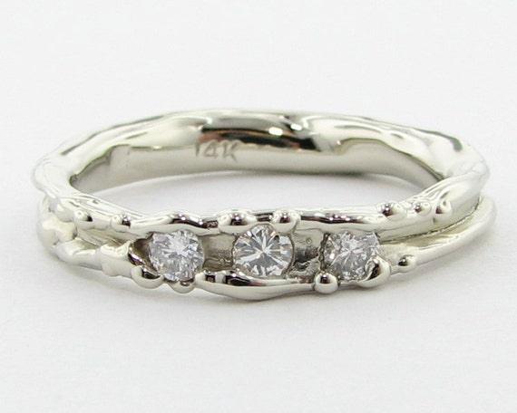 Skinny lil Melted Diamond Band, White Gold