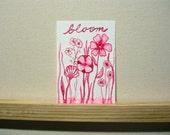 Bloom, Original Artwork, Flowers in Ink, ACEO, garden, gardening, flower, pink