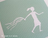 Ribbon Run paper cut, girl, ribbons, running