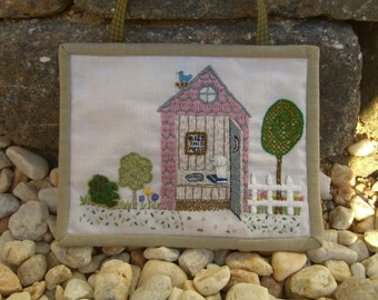 Bless This Mess, outhouse hand embroidery pattern, toilet, needlework
