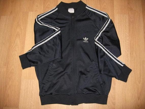Vintage 1980s Jacket Black Adidas Track Jacket Silver